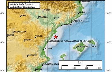 Gráfico del Instituto Geográfico Nacional sobre el movimiento sísmico en el Golfo de Valencia.